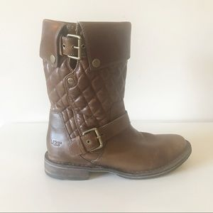 eaacd83f57a Ugg Conor Brown Quilted Leather Boots Size 9